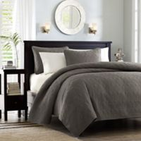 Madison Park Quebec Reversible Full/Queen Coverlet Set in Dark Grey