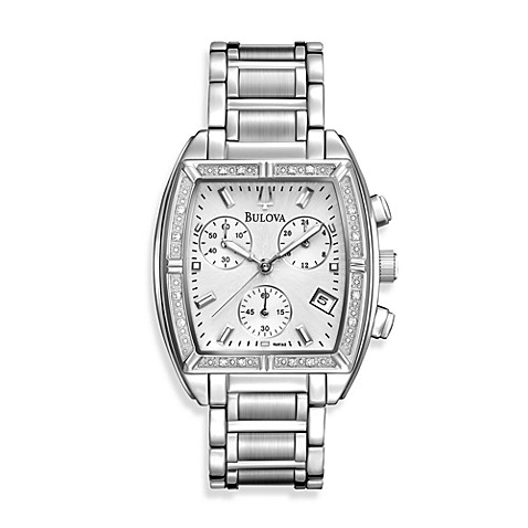 Bulova Women's Diamond Bezel Silver Watch