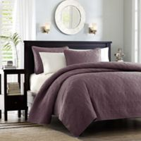 Madison Park Quebec Reversible Full/Queen Coverlet Set in Purple