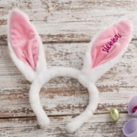 Embroidered Easter Bunny Ear Headband in Pink
