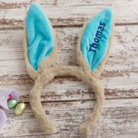 Embroidered Easter Bunny Ear Headband in Blue