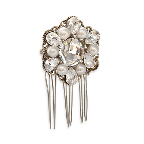 MEG Jewelry Silver Freshwater Cultured Pearl and Swarovski Crystal Fleur Hair Comb