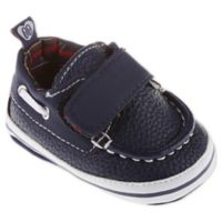 Stepping Stones Size 0-3M Boat Shoes with Textured Straps in Navy