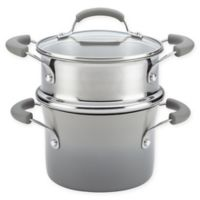 Rachael Ray® Classic Brights 3 qt. Nonstick Covered Steamer Set in Sea Salt Grey