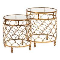 Baxton Studio Duanne 2-Piece Stackable Table Set in Antique Gold