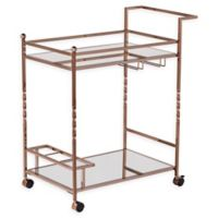 Southern Enterprises Ivers Mirrored Metal Bar Cart in Champagne