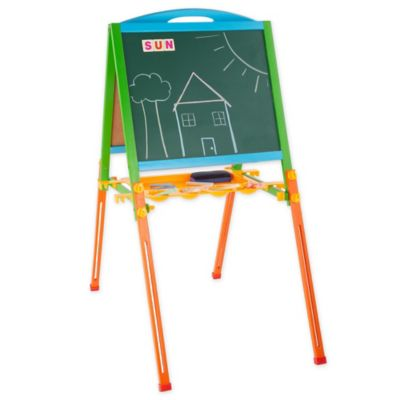 Hey Play Childrens Two Sided Wooden Adjustable Easel