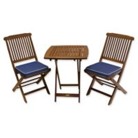 Outdoor Interiors Eucalyptus Wood 3-Piece Square Bistro Set with Blue Cushions