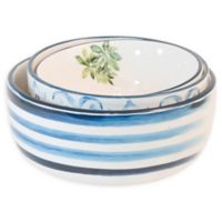 Boston International Topiary Ceramic Serving Bowls in Blue/White (Set of 3)