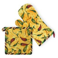 Boston International Pepper Toss 2-Piece Pot Holder and Oven Mitt Set