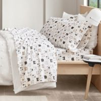 Intelligent Design Cats Cozy Flannel Twin Sheet Set in Grey