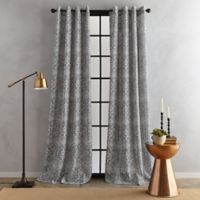 Bedeck Juma Print 63-Inch Grommet Window Curtain Panel in Grey