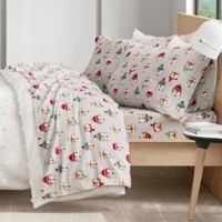 Intelligent Design Foxes Cozy Flannel Full Sheet Set in Grey