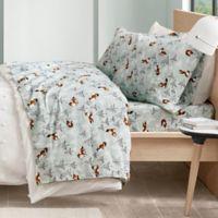 Intelligent Design Foxes Cozy Flannel Full Sheet Set in Seafoam