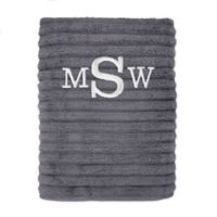 Personalized Turkish Cotton Ribbed Bath Sheet in Charcoal