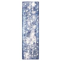 "Home Dynamix Kenmare by Nicole Miller Triangles 2'2"" x 7'2"" Runner in Grey/Blue"
