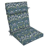 Arden Selections™ Aurora Damask Print Outdoor Dining Chair Cushion in Blue/Multicolor