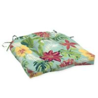 Arden Selections™ Tropical Print Outdoor Wicker Seat Cushions in Turquoise (Set of 2)