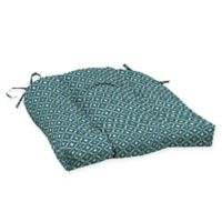 Arden Selections™ Alana Print Outdoor Wicker Seat Cushions in Blue/Green (Set of 2)