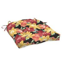 Arden Selections™ Tropical Print Outdoor Wicker Seat Cushions in Ruby Red (Set of 2)
