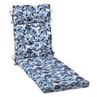 Arden Selections™ Garden Print Outdoor Chaise Lounge Cushion in Blue/Cream