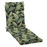Arden Selections™ Palm Print Outdoor Chaise Lounge Cushion in Black/Green