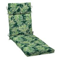 Arden Selections™ Palm Leaf Print Outdoor Chaise Lounge Cushion in Green