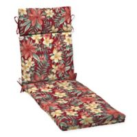 Arden Selections™ Tropical Print Outdoor Chaise Lounge Cushion in Ruby Red