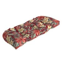 Arden Selections™ Tropical Print Outdoor Wicker Settee Cushion in Ruby Red