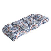 Arden Selections™ Clark Medallion Print Outdoor Wicker Settee Cushion in Red/White/Blue