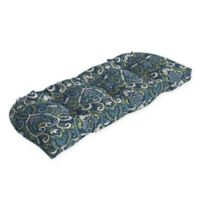 Arden Selections™ Aurora Print Outdoor Wicker Settee Cushion in Blue