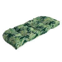 Arden Selections™ Palm Leaf Print Outdoor Wicker Settee Cushion in Green