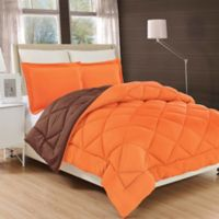 All Season Reversible Down Alternative Twin Comforter in Orange/Chocolate
