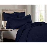 HiEnd Accents Channel Satin Full/Queen Quilt in Blue