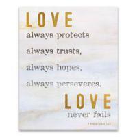 "Artissimo Designs ""Love Never Fails"" 16-Inch x 20-Inch Canvas Wall Art"
