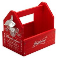 Budweiser® 6 Bottle Wood Caddie with Opener in Red