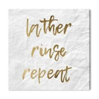 Oliver Gal™ Lather, Rinse, Repeat 16-Inch Square Canvas Wall Art in Gold