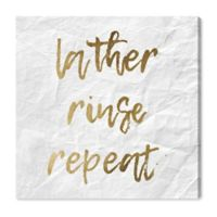 Oliver Gal™ Lather, Rinse, Repeat 20-Inch Square Canvas Wall Art in Gold