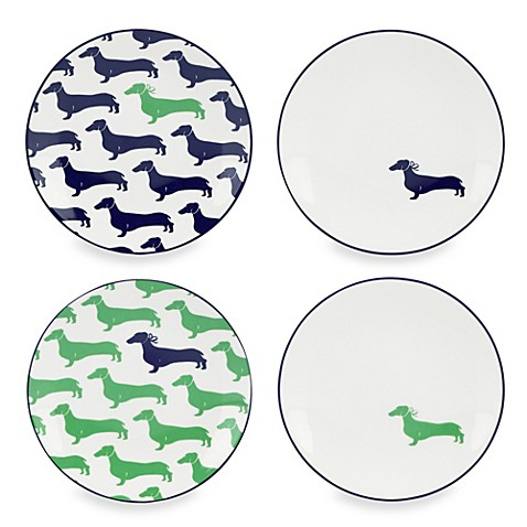 Kate spade new york wickford dachshund tidbit plates for Bed bath and beyond kate spade