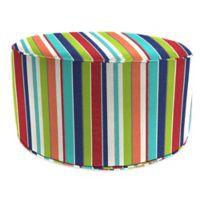Outdoor Round Pouf Ottoman in Sunbrella® Carousel Confetti