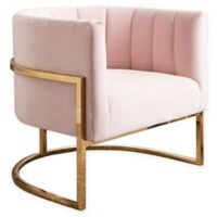 Ellie Channel Tufting Velvet Accent Chair in Pink