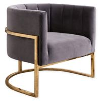 Ellie Channel Tufting Velvet Accent Chair in Grey