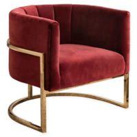 Ellie Channel Tufting Velvet Accent Chair in Burgundy