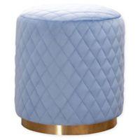 Monroe Quilted Velvet Ottoman in Blue