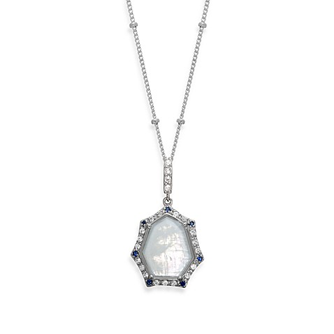 Rare Moonstone with Created Blue and White Sapphire Pendant