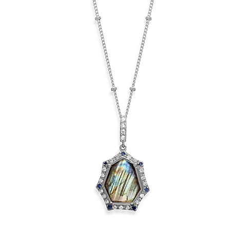 Rare Labradorite with Created Blue and White Sapphire Pendant