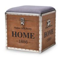 Baxton Studio® Linen Upholstered Eunice Ottoman in Grey/oak