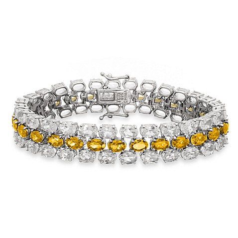 Eternities by Carol Brodie™ Everlasting Honey Quartz and Created White Sapphire Line Bracelet