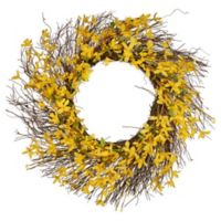 National Tree Company Forsythia Flowers 24-Inch Wreath in Yellow
