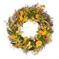 National Tree Company Butterfly 24-Inch Wreath in Yellow